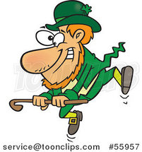 Cartoon St Patricks Day Leprechaun Dancing with a Cane by Toonaday