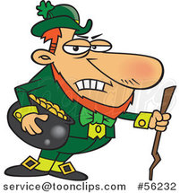 Cartoon Grouchy Leprechaun Holding a Pot of Gold and a Stick by Toonaday