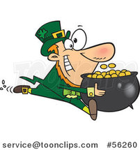Cartoon Leprechaun Sprinting with His Pot of Gold Coins by Toonaday