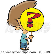 Cartoon Anonymous Brunette White Boy Holding a Question Mark Sign over His Face by Toonaday