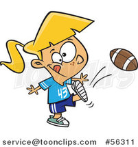 Cartoon Blond White Tom Boy Girl Kicking a Football by Toonaday