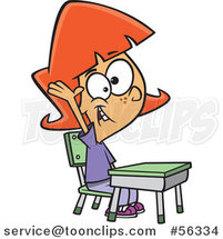 Cartoon Smart Red Haired White School Girl Raising Her Hand at Her Desk by Toonaday