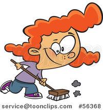 Cartoon Red Haired White Girl Using a Shop Broom by Toonaday