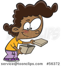 Cartoon Black Girl Opening a Box by Toonaday