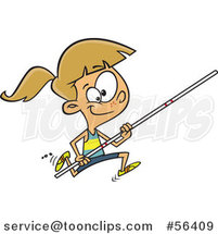 Cartoon Track and Field Dirty Blond White Pole Vault Girl Running by Toonaday