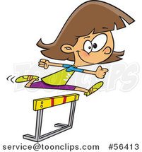 Cartoon Track and Field Brunette White Girl Leaping a Track Hurdle by Toonaday