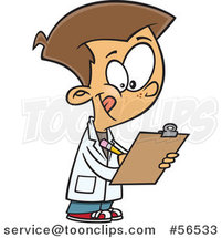 Cartoon White Boy Wearing a Lab Coat and Writing on a Clipboard by Toonaday
