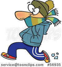 Cartoon White Guy Bundled up and Running in the Cold by Toonaday