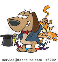 Cartoon Magician Dog Pulling a Cat out of a Hat by Toonaday