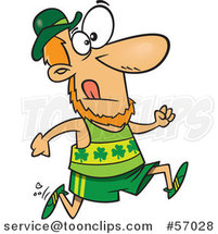 Cartoon St Patricks Day Leprechaun Running a Marathon by Toonaday