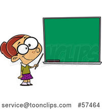 Cartoon White School Girl Pretending to Be a Teacher, Standing by a Chalk Board by Toonaday