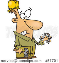 Cartoon Clumsy White Carpenter Holding a Hammer and Looking at His Injured Fingers, All Thumbs by Toonaday