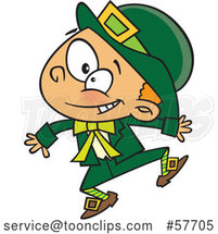 Cartoon Energetic St Patricks Day Leprechaun Boy Jumping by Toonaday