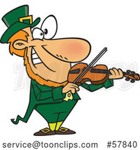 Cartoon Leprechaun Playing a Violin by Toonaday