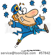 Cartoon Leaping Blue Leprechaun by Toonaday
