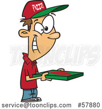 Cartoon Happy White Pizza Delivery Guy Holding a Box by Toonaday