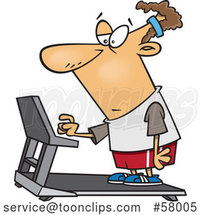 Cartoon Unenthused White Guy Setting a Treadmill for a Workout by Toonaday