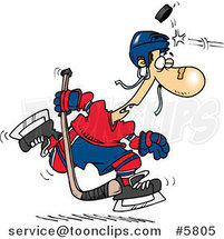 Cartoon Puck Hitting a Hockey Player by Toonaday