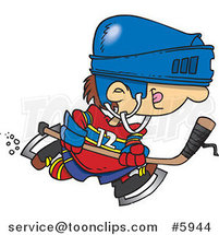 Cartoon Boy Hockey Player by Toonaday