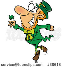 Cartoon St Patricks Day Leprechaun Dancing with a Four Leaf Clover by Toonaday