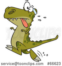 Cartoon Tyrannosaurus Rex Dinosaur Jogging by Toonaday