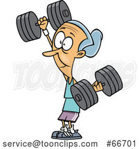 Cartoon Strong Senior White Lady Working out with Dumbbells by Toonaday