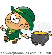 Cartoon Leprechaun Boy Pulling a St Patricks Day Gold Wagon Cauldron by Toonaday