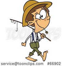 Cartoon White Boy Carrying a Fishing Pole by Toonaday