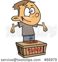 Cartoon White Boy Standing on a Soapbox by Toonaday