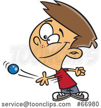 Cartoon White Boy Tossing a Ball by Toonaday