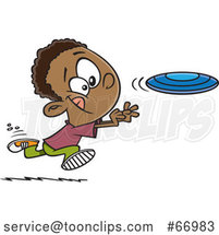Cartoon Black Boy Chasing a Frisbee by Toonaday