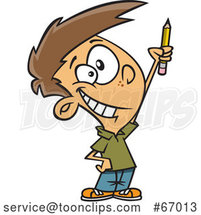 Cartoon White Boy Classroom Warrior Holding up a Pencil by Toonaday