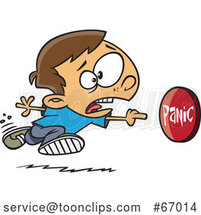Cartoon White Boy Rushing to Push a Panic Button by Toonaday