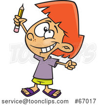 Cartoon White Girl Classroom Warrior Holding up a Pencil by Toonaday