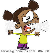 Cartoon Black Girl Yelling by Toonaday
