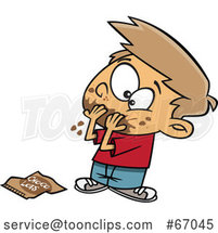 Cartoon White Boy Pigging out on Chocolate Day by Toonaday