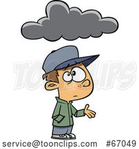 Cartoon White Boy Feeling Under the Weather, with a Cloud by Toonaday