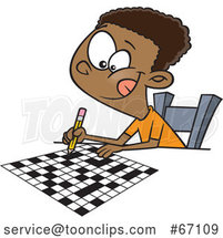 Cartoon Black Boy Doing a Crossword Puzzle by Toonaday