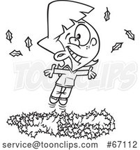 Cartoon Outline Girl Playing in a Pile of Autumn Leaves by Toonaday
