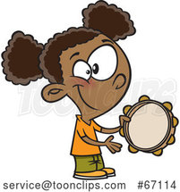 Cartoon Black Girl Playing a Tambourine by Toonaday