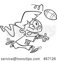 Cartoon Outline Girl Catching a Football by Toonaday