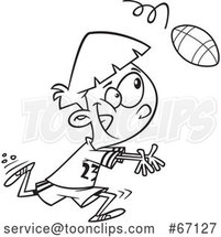 Cartoon Outline Boy Catching a Football by Toonaday