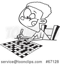 Cartoon Outline Black Boy Doing a Crossword Puzzle by Toonaday