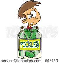 Cartoon White Boy Caught in a Pickle Jar by Toonaday