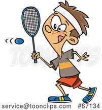 Cartoon White Boy Playing Squash by Toonaday