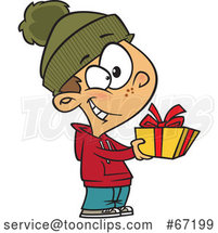 Cartoon Boy Giving a Christmas Gift by Toonaday