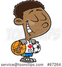 Cartoon Black Boy Wearing an I Love PE Shirt by Toonaday