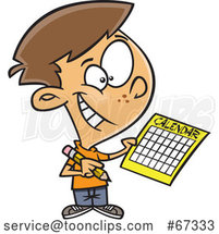 Cartoon White Boy Writing a Schedule in His Calendar by Toonaday