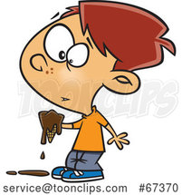 Cartoon Red Haired White Boy Holding Melting Chocolate by Toonaday
