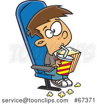 Cartoon White Boy Sipping a Fountain Soda and Holding Popcorn While Watching a Matinee Movie by Toonaday